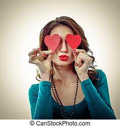 gekke , vrouw, haar, op, love., vrijstaand, jonge, lachen, achtergrond, hartjes, eyes., witte , valentijn, blij, meisje