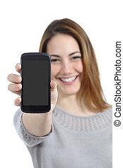 gekke , vrouw, het tonen, een, leeg, smart, telefoon, display