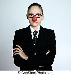gekke , vrouw zaak, clown, neus, serieuze