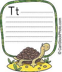 gekke , weinig; niet zo(veel), alfabet, abc., t, schildpad
