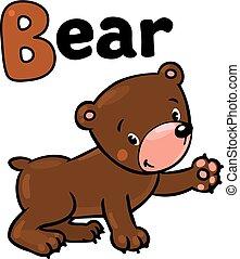 gekke , weinig; niet zo(veel), b, alfabet, abc., beer