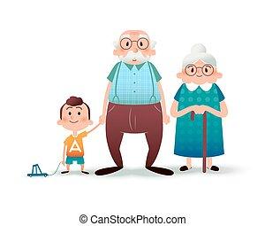 gekke , weinig; niet zo(veel), grangmother, illustration., gezin, jongen, family., concept., grootvader, grandson., plat, vector, vasthouden, granddad, spotprent, hands., vrolijke