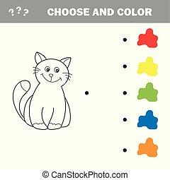 gekke , weinig; niet zo(veel), kleuren, onderwijs, book., spel, kitten., kinderen