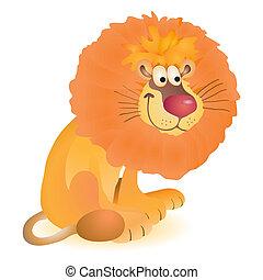 gekke , weinig; niet zo(veel), speelbal, leeuw, zittende