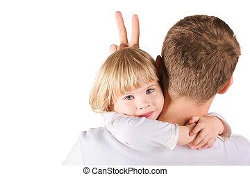 gekke , weinig; niet zo(veel), zijn, isolated., vader, gesture., girl., daughter., omhelzen