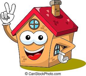 gekke , winnen, vrijstaand, spotprent, overwinning, woning, thuis, of, gebaar, mascotte
