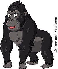 gekke , witte , spotprent, achtergrond, gorilla