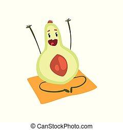 gekke , yoga, karakter, avocado, illustratie, fruit, vector, achtergrond, witte , spotprent, oefening