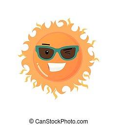 gekke , zonnebrillen, toothy, zon, sticker, vrijstaand, achtergrond, het glimlachen, witte , emoji