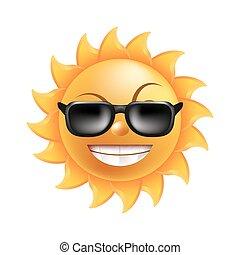 gekke , zonnebrillen, zon, vrijstaand, illustratie, gezicht