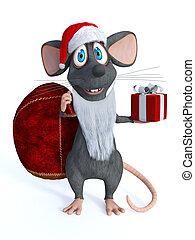 geklede, het glimlachen, muis, spotprent, santa.