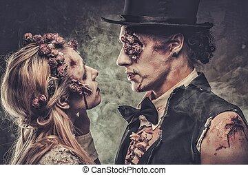 geklede, in, trouwfeest, kleren, romantische, zombie, paar te lopen, op, de, verlaten, cemetery.