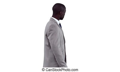 geklede, presentatie, goed, zakenman, vervaardiging