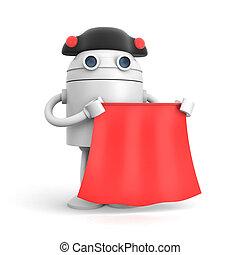 geklede, robot, illustratie, achtergrond., witte , matador, 3d