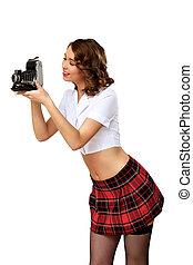 geklede, stijl, vrouw, fototoestel, retro
