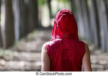 geklede, wandelende, bos, rood, vrouwen