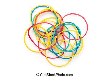 gekleurd, muti, elastics, groep, groot
