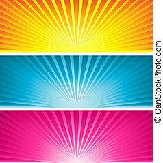 gekleurd, starbursts