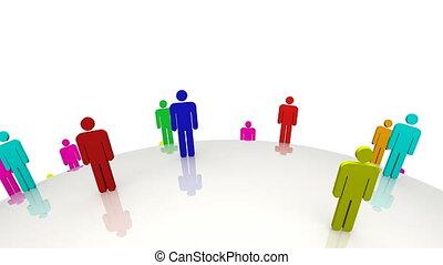 gekleurde, 3d, mannen, staand, op, een, verhuizing