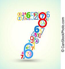 gekleurde, 7, getal, vector, getallen, lettertype
