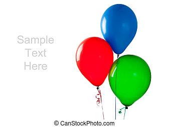 gekleurde, ballons, op, een, witte achtergrond