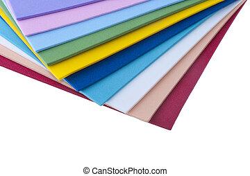 gekleurde, bladen, plastic