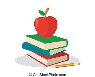 gekleurde, boekjes , met, appel, voor, school