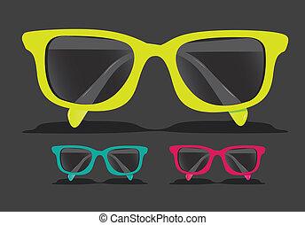 gekleurde, bril