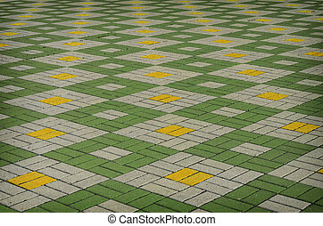 gekleurde, checkered, tegel, op de straat