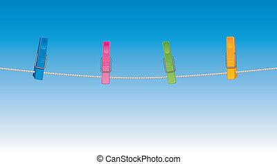gekleurde, clothespins