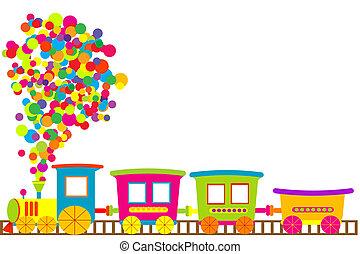 gekleurde, de trein van het stuk speelgoed