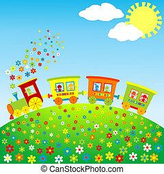 gekleurde, de trein van het stuk speelgoed, met, vrolijke ,...