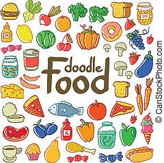 gekleurde, doodle, voedingsmiddelen, set, van, 50,...