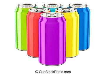 gekleurde, drank, metalen, vertolking, blikjes, 3d