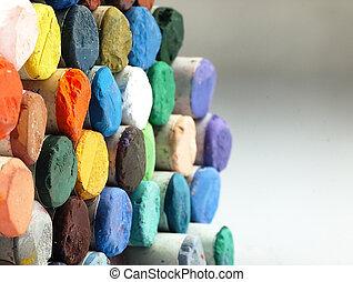 gekleurde, droog, pastel crayons, closely.