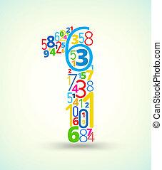 gekleurde, getal, vector, getallen, lettertype, 1