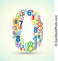 gekleurde, getal, vector, getallen, lettertype, nul