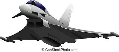 gekleurde, gevecht, aircraft., il, vector