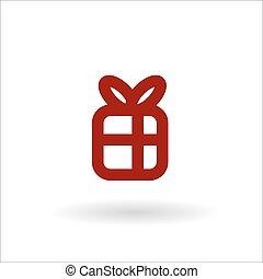 gekleurde, giftdoos, met, lint, vector, lijn, pictogram