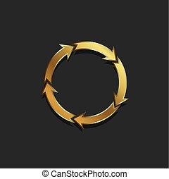 gekleurde, goud, pijl, illustratie, vector, cirkel, redo