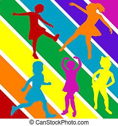gekleurde, hand, trekken, kinderen, silhouettes