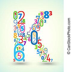 gekleurde, k, vector, getallen, brief, lettertype