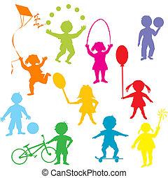 gekleurde, kinderen, silhouettes, spelend