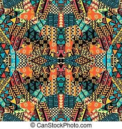 gekleurde, lapwerk, ethnische , motieven, afrikaan, mozaïek