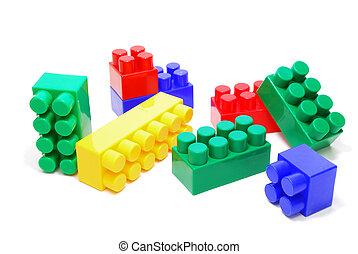 gekleurde, lego, bakstenen
