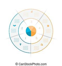 gekleurde, lijnen, getal, infographic, vijf, ring, opties