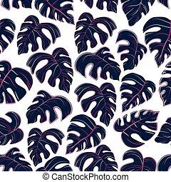 gekleurde, model, bladeren, palm, achtergrond, witte