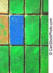 gekleurde, muur, baksteen, abstract.