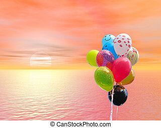 gekleurde, op, tegen, bloedig, ondergaande zon , feestje, oceaan, ballons, rood, bos