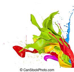 gekleurde, plonsen, in, abstracte vorm, vrijstaand, op wit, achtergrond
